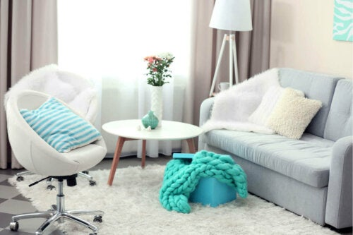 A living room with some blue for water zodiac signs.