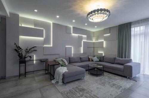 A living room with some soft back lighting.