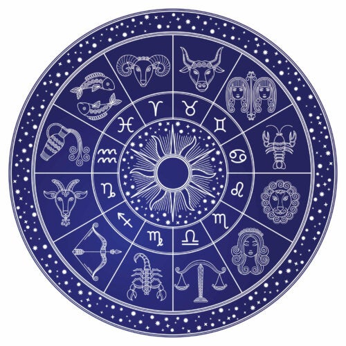 A zodiac chart with all the signs.