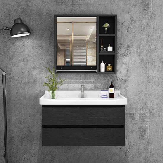 Black and modern wall-mounted washbasin cabinet.